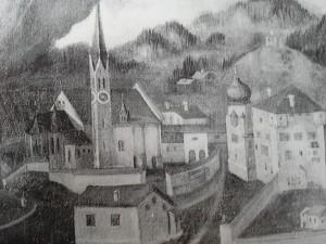 Fügen alte Ansicht Kirche u. Schloss